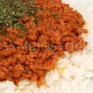 Hackfleisch auf Reis Detail - Fotos-Schmiede