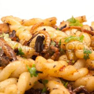 Mehlwürmer-Pilze-Pasta-Pfanne Detail - Fotos-Schmiede