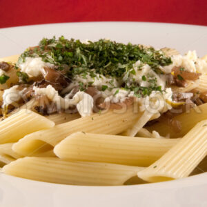 Penne Rigate mit Sauce und Mozzarella Frontal - Fotos-Schmiede