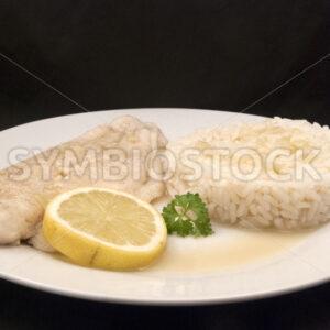 Pochiertes Pangasiusfilet mit Reis Aufsicht - Fotos-Schmiede