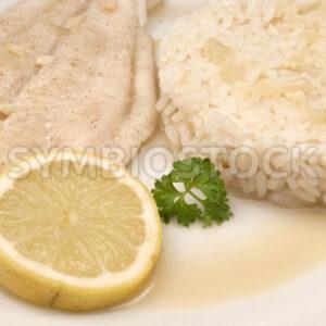 Pochiertes Pangasiusfilet mit Reis Detail - Fotos-Schmiede