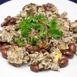 Eier mit Oliven und Tomaten Aufsicht - Fotos-Schmiede